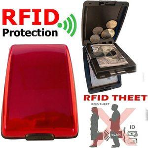 Miixia Geldbörse Aluminium Brieftasche Kreditkarten Etui RFID Schutz Dokument Storage Rot