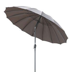 Angel Living Ø 270cm Rund Sonnenschirm mit Neigung,Marktschirm,Terrassenschirm mit Kurbel für Garten,Terrassen, Höfe,Schwimmbäder,mit UV-Schutz 50+ Grau
