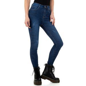 Ital-Design Damen Jeans High Waist Jeans Dunkelblau Gr.38