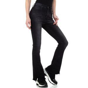 Ital-Design Damen Jeans Bootcut Jeans Schwarz Gr.s/36