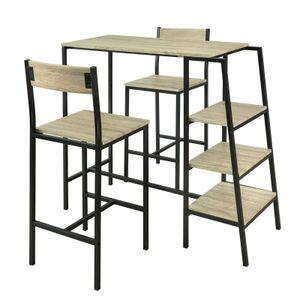 SoBuy 3 tlg. Sitzgruppe,Esstisch mit 2 Stühlen und 3 Ablagen,Stehtisch, Höhe 100cm,OGT16-N