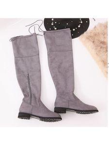 Lässige Overknee-Stiefel für Damen mit flachem Reißverschluss,Farbe: Grau,Größe:39