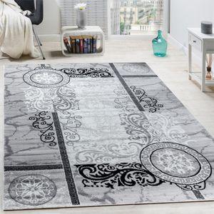 Designer Teppich Modern Meliert Floral mit Mäander Muster Kreise Grau Schwarz, Grösse:120x170 cm