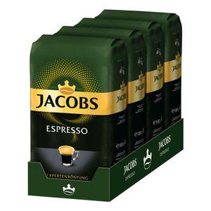 Jacobs Espresso Expertenröstung 4x 1 kg ganze Bohnen, Röstkaffee, Kaffeebohnen