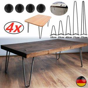 Hairpin Legs, 4er Set, 4''/14''/16''/28''(10/35/40/71 cm), schwarz, Tischbeine aus Stahl, 2/3 Streben, 4er Rutschfestes Fußpolster, 10 mm Stahldick--(Paket:4er Set 16'' Hairpin Legs/ 2Streben)