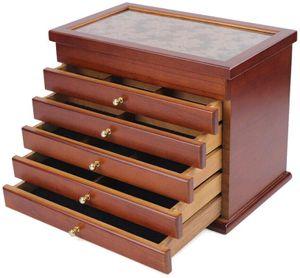 Retro Holz Schmuckbox Aufbewahrungsbox Schmuckkästchen Schmuckaufbewahrung Kosmetikschrank   Schmuckschatulle(  Braun )6 Schichten  Geschenk für deine Mutter / Freundin / Schwester