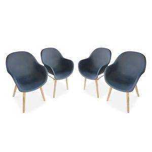 Set mit 4 CELEBES Skandinavischen Sesseln, Akazie und Kunststoff, grau, Innen/Außen