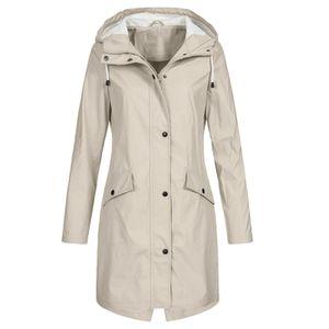 Einfarbige Regenjacke für Damen Outdoor Hoodie Wasserdichter winddichter langer Mantel Größe:XL,Farbe:Beige