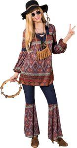 O9848-50-52 bunt Damen Hippie Kostüm Anzug Flowerpower Party Gr.50-52