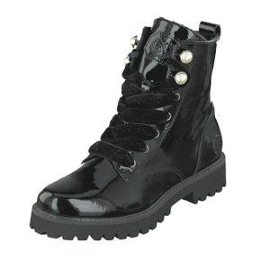 Jane Klain Damen Schuhe Lack Patent Boots Stiefel 252-389 Schwarz Lack Reißv.