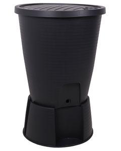 Ondis24 Regentonne Regenwassertank Wasserfass Regenwassertonne 220 Liter mit Deckel Ständer Hahn und Füllautomat schwarz