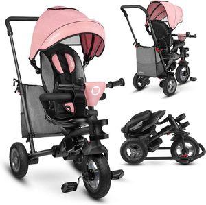 Lionelo Tris Rose grey Dreirad Laufrad Kinder  Baby Fahrrad mit Schubstange und Freilauf-Funktion - für Kinder von 1,5 - 5 Jahre geeignet