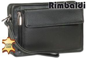 Rimbaldi® Handgelenktasche für den Mann aus weichem, hochwertigem Rind-Nappaleder in Schwarz