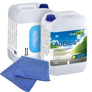 2x 10 L blueSky AdBlue® inkl. Ausgießer + Microfasertuch (100% Polyester) blau 38 x 38 cm 220 GSM