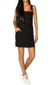 Damen Denim Jeans Latz Rock Basic Minirock Latzkleid Fransen Jeansskirt Sommerkleid Jumpsuit, Farben:Schwarz, Größe:36