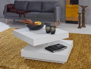 Couchtisch in weiß Wohnzimmertisch Tischplatte drehbar quadratisch 70 x 70 cm mit Ablage