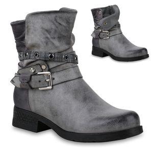 Mytrendshoe Damen Stiefeletten Biker Boots Leicht Gefütterte Stiefel Nieten 823967, Farbe: Grau, Größe: 37