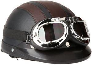 Vespa Motorrad Roller Helm, Winter Windschutzhelm mit UV-Visier Retro Vintage Style Brille 54-60cm (KKmoon Vespa Motorrad Roller Helm, Winter Windschutzhelm mit UV Visier Retro Vintage Style Brille 54-60 cm (Braun)