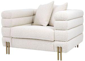 Casa Padrino Luxus Art Deco Sessel Creme / Messing 109 x 97 x H. 68 cm - Moderner Wohnzimmer Sessel - Luxus Möbel