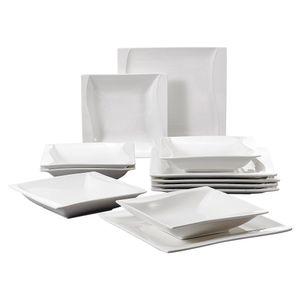 MALACASA, Serie Carina, Porzellan Tafelservice 12 teilig Geschirrset, 6 Speisteller + 6 Suppenteller
