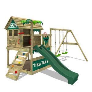 FATMOOSE Spielturm Klettergerüst TikaTaka mit Schaukel & grüner Rutsche, Stelzenhaus mit Sandkasten, Leiter & Spiel-Zubehör