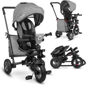 Lionelo Tris Grey Dreirad Laufrad Kinder Baby Fahrrad mit Gummireifen und Freilauffunktion für Pedale und Lenker - für 1,5 - 5 Jahre geeignet