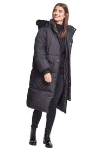 Urban Classics TB2382  Ladies Oversize Faux Fur Puffer Coat, Größe:M, Farbe:blk/blk