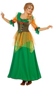 Waldfee Kostüm Damen Herbstfee Fee Damen-Kostüm grün lang Größe: 36