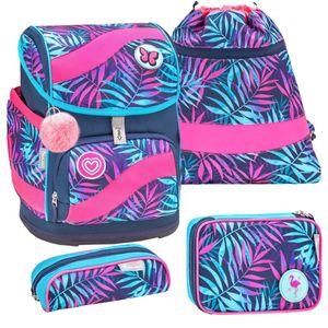 Belmil ergonomischer Schulranzen Set 5 -teilig für Mädchen 1-4 Klasse Grundschule mit Patch Set/Brustgurt, Hüftgurt/Magnetverschluss/Blau, Türkis, Pink (405-51 Colorful Tropical)