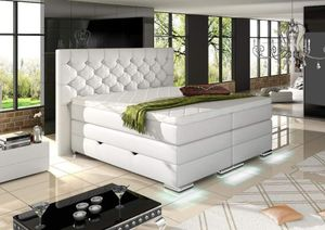Mailand Chesterfield Boxspringbett mit Bettkasten Weiß Kunstleder 180 x 200 cm
