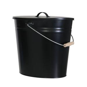 Ascheeimer, schwarz, 24 l, mit Deckel