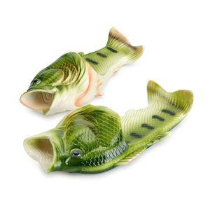 Herren Damen Kreative Pantoffeln Fisch Hausschuhe Strand Sommer lässig Sandalen, Farbe:Grün; Schuhgröße:44/45
