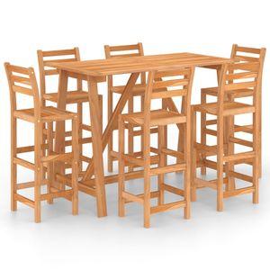 Balkonset 7-TLG. Gartenbar-Set Garten-Essgruppe 6 Stühle + Tisch, Sitzgruppe für 6 Personen Massivholz Akazie
