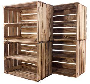 5x Moderne geflammte Regalkiste aus Holz, braun, neu, ideal als individuelles Schuhregal, Wandregal, DIY gegen Langeweile, 50x40x30cm