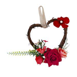Elegant Blumenkranz Dekokranz Blütenkranz Rattenkranz für Tür Wand Baum Dekoration Farbe rot