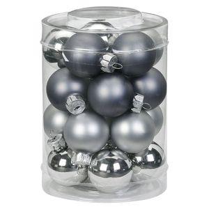 Weihnachtskugeln Glas 3cm, 20 Stück, Farbe:Hazy Grey - grau