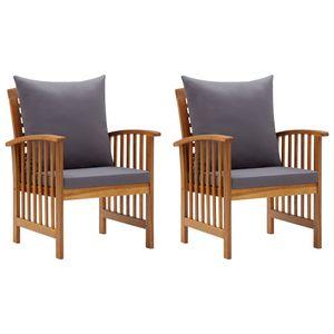 vidaXL Gartenstühle mit Kissen 2 Stk. Akazie Massivholz