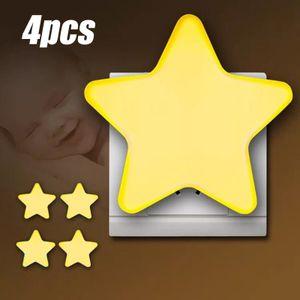 MEIYOU  4PCS Kinder Nachtlicht Stern Form LED Nachtlicht Nachtleuchte Steckdose mit Fotozellen Sensor Nachttischlampe Schlummerleuchte für Kinderzimmer Flur Treppe