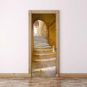 Steintüraufkleber im europäischen Stil, 3D wasserdichter, renovierter Holztüraufkleber, 200 * 77 cm