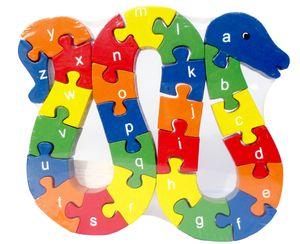 bunte Holz Puzzle Schlange ABC + Zahlen 26 Teile
