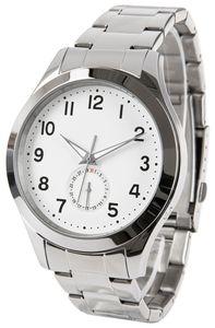 Funk-Armbanduhr, Edelstahl, Tages- und Sekundenanzeige, Leuchtzeiger