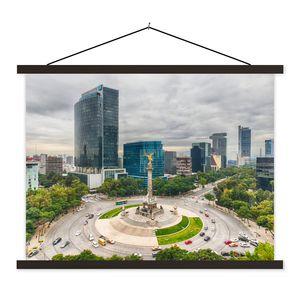 Textilposter - Ein quadratisches Foto des Engels der Unabhängigkeit in Mexiko-Stadt - 60x45 cm - mit schwarzen Rahmen