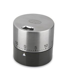Dr. Oetker Mechanischer-Kurzzeitwecker 60 min BACK SPASS, extra lautes Alarmsignal, keine Batterie notwendig, digitaler Küchentimer (Farbe: Silber/Grau-Braun), Menge: 1 Stück