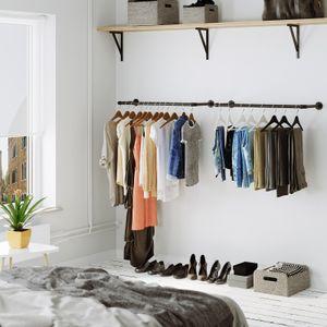 SONGMICS 2er Set Garderobenständer | 92 x 30 x 7,5 cm bis 50 kg belastbar | Kleiderstange Wandmontage platzsparend einfache Montage schwarz HSR67BK02