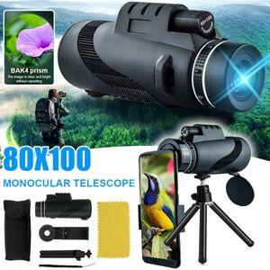 80x100 HD Monokular Starscope Telefon Kamera Zoomlinse + Handy Stativ Tasche Telefon Teleskop