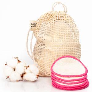 bambuswald© 12er Pack ökologische Reinigungspads bzw. Abschminkpads aus Bambus | Kosmetikpads nkl. Tragetasche für Gesichtsreinigung, Make-Up Remover. Waschbare Reinigungstücher Abschminktücher | umweltfreundliche Alternative zu Einwegpads | weiss/pink