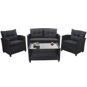 XXL Poly-Rattan Garnitur HWC-F10, Balkon-/Garten-/Lounge-Set Sitzgruppe, Sofa Sessel mit Kissen Spun Poly  anthrazit