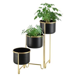 Pflanzständer Fleurus mit 3 Pflanztöpfen Zusammenklappbar Blumenständer-Set Pflanztopfhalter in 3 Größen Pflanzhalter Platzsparend Metall Schwarz Messing
