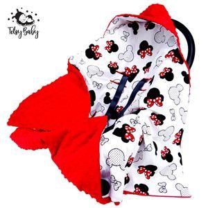 Einschlagdecke Babyschale Babydecke Kinderwagen Decke für Sommer Frühling Fußsack 90x90cm Rot Minky und Baumwolle mit Maus Motiv