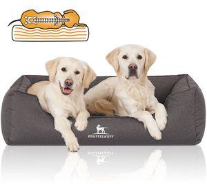 Knuffelwuff Orthopädisches Wasserabweisendes Hundebett Leon aus Velours mit Handwebcharakter XXL 120 x 85cm Anthrazit